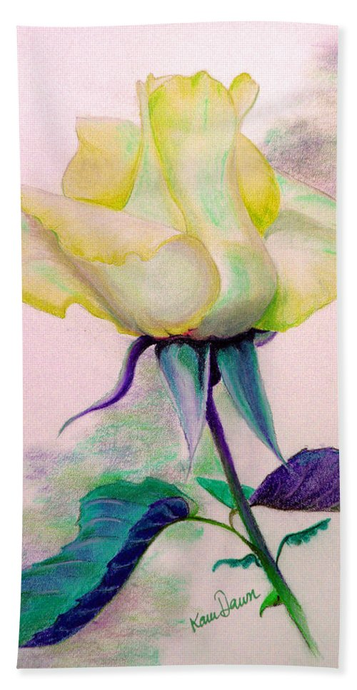 Yellow Rose Beach Towel featuring the painting Pastel Rose by Karin Dawn Kelshall- Best