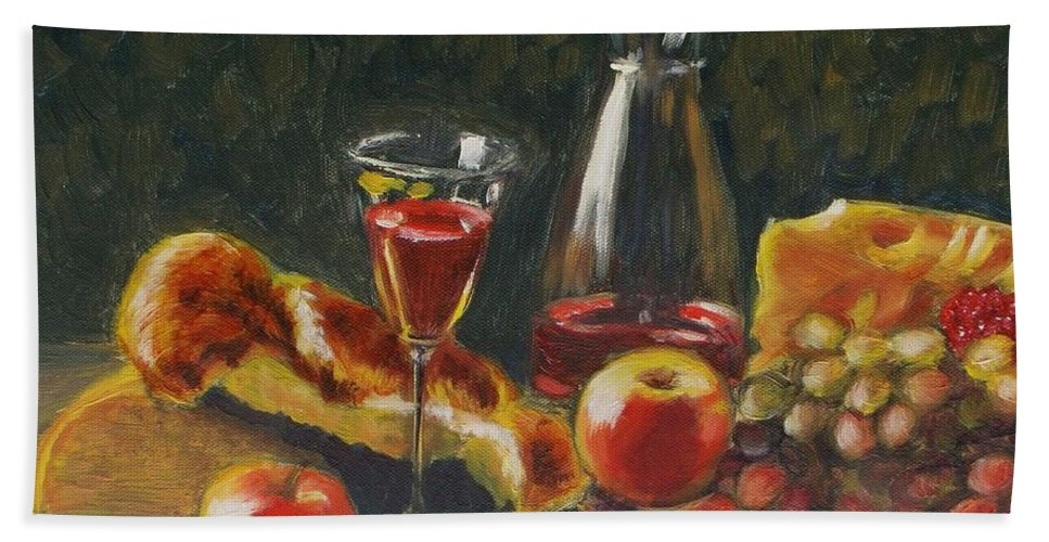 Still Life Beach Towel featuring the painting Quiet Party by Elena Sokolova