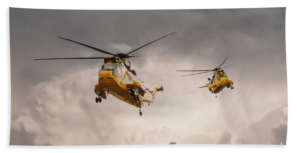 Search And Rescue Beach Towel featuring the digital art Sea Kings by Airpower Art