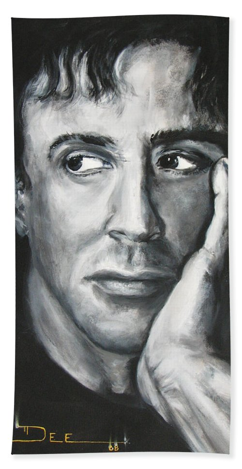 Copland Beach Towel featuring the painting Sylvester Stallone by Eric Dee