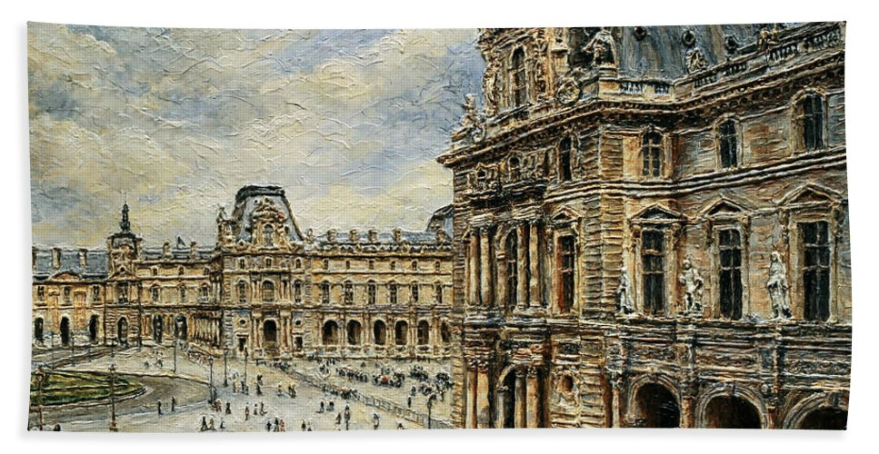 Museum Beach Towel featuring the painting The Louvre Museum by Joey Agbayani