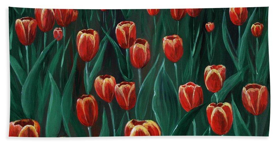 May Beach Towel featuring the painting Tulip Festival by Anastasiya Malakhova