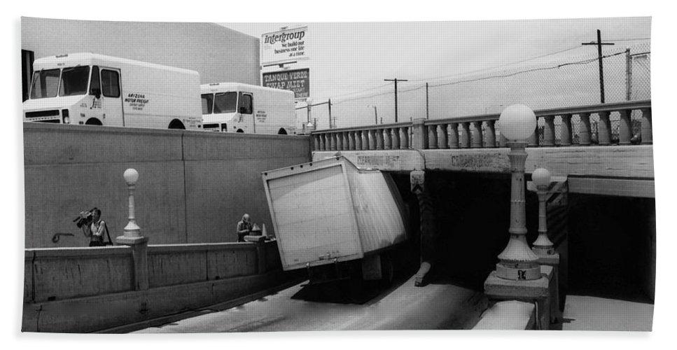 6th Streetunderpass Truck Accident Tucson Arizona Tv Cameraman Black And White Beach Towel featuring the photograph 6th Street Underpass Truck Accident Tucson Arizona 1984 by David Lee Guss