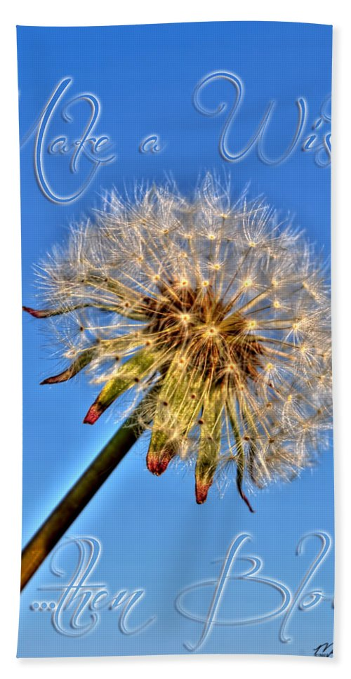 Taraxacum Beach Towel featuring the photograph 002 Make A Wish With Text by Michael Frank Jr