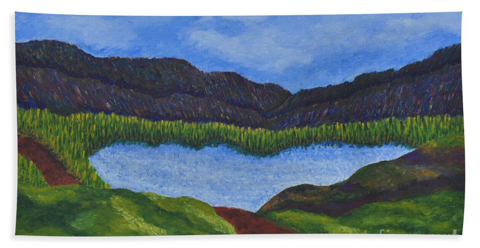 Landscape Beach Towel featuring the painting 007 Landscape by Chowdary V Arikatla