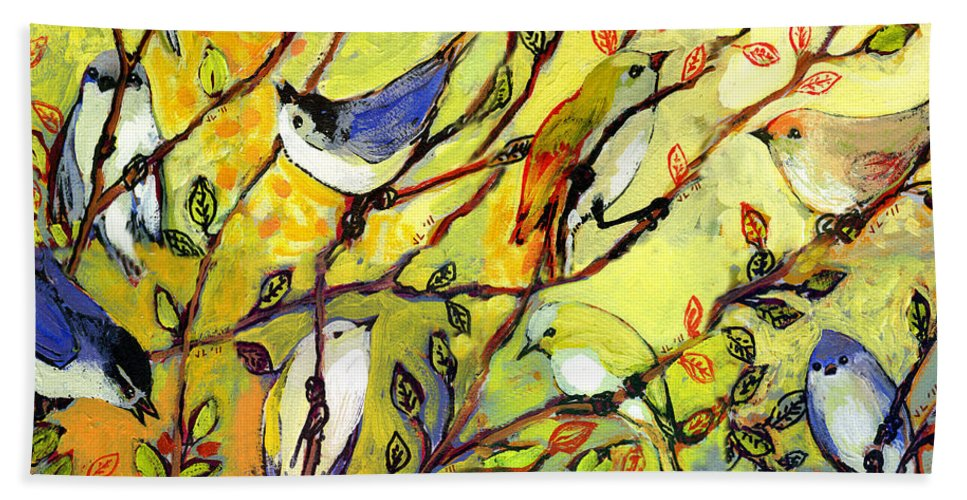 Bird Beach Towel featuring the painting 16 Birds by Jennifer Lommers