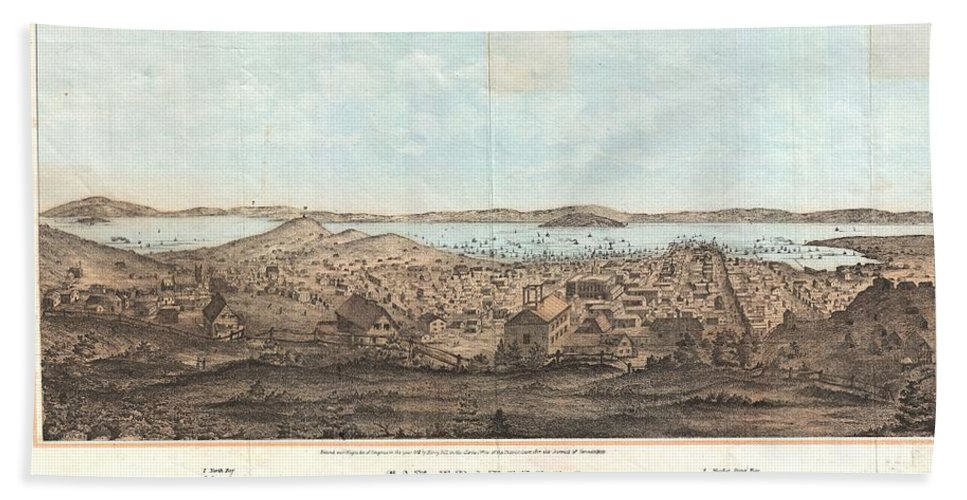 Beach Towel featuring the photograph 1856 Henry Bill Map And View Of San Francisco California by Paul Fearn