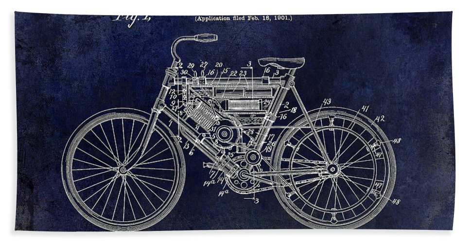 Harley Davidson Patent Drawing Beach Towel featuring the photograph 1901 Motorcycle Patent Drawing Blue by Jon Neidert