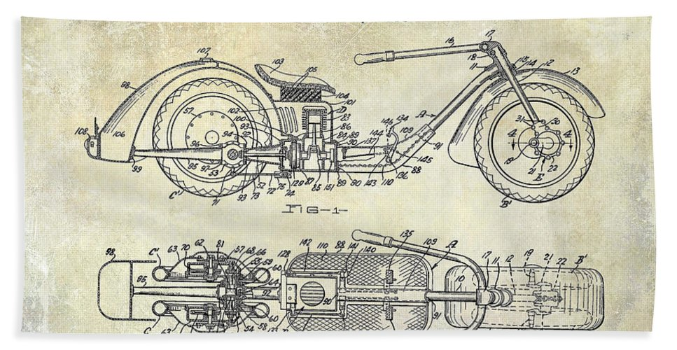 Harley Davidson Patent Drawing Beach Towel featuring the photograph 1939 Motorcycle Patent Drawing by Jon Neidert