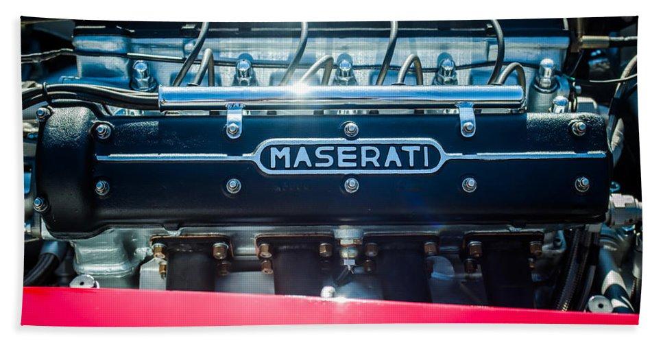 1956 Maserati 150s Engine Emblem Beach Towel featuring the photograph 1956 Maserati 150s Engine Emblem 1 by Jill Reger