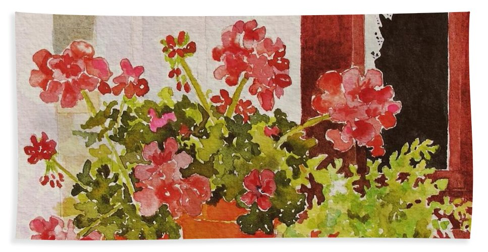 Geraniums Beach Towel featuring the painting A Bit of Summer by Mary Ellen Mueller Legault