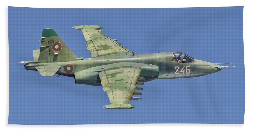 Horizontal Beach Towel featuring the photograph A Bulgarian Air Force Su-25 In Flight by Giovanni Colla