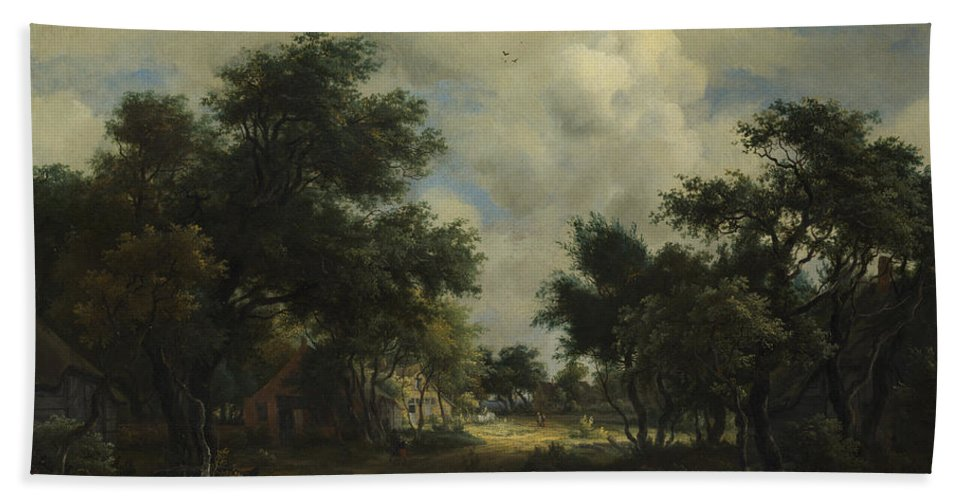 Meindert Hobbema Beach Towel featuring the painting A Road Winding Past Cottages by Meindert Hobbema