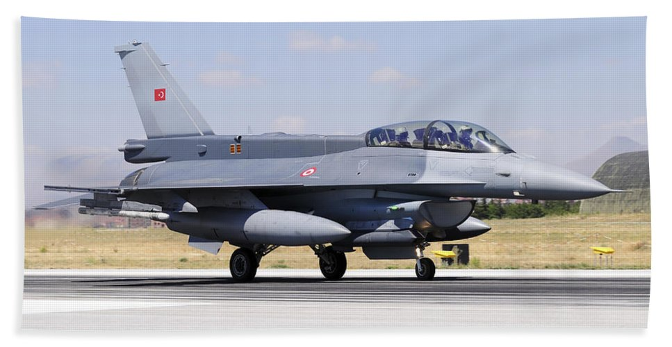 Military Beach Towel featuring the photograph A Turkish Air Force F-16d Block50+ by Daniele Faccioli