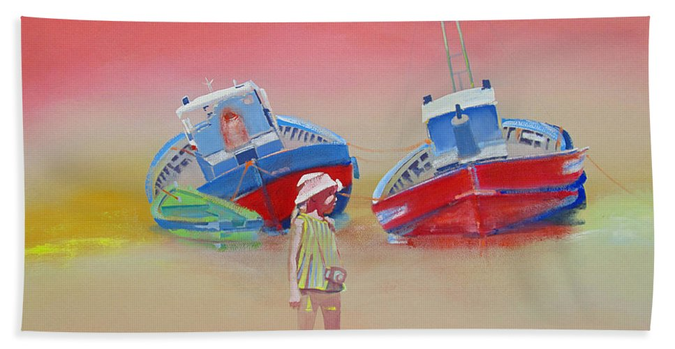 Abandoned Fishing Boats Beach Towel featuring the painting Abandoned Fishing Boats Tavira by Charles Stuart