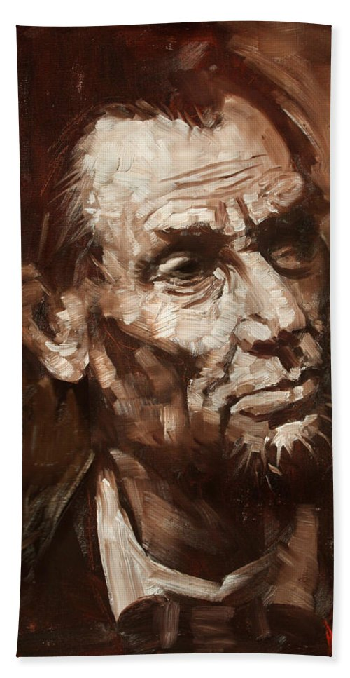 Abraham Lincoln Beach Towel featuring the painting Abraham Lincoln by Ylli Haruni