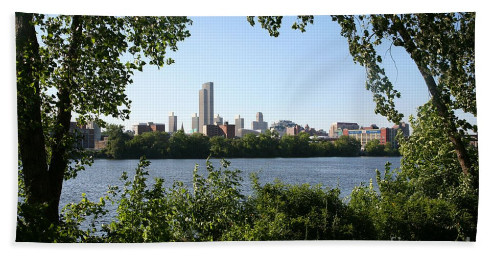 Empire State Plaza Beach Towel featuring the photograph Albany Skyline by Bill Cobb