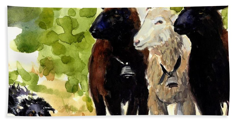 Sheep Beach Towel featuring the painting All Eyes by Molly Poole
