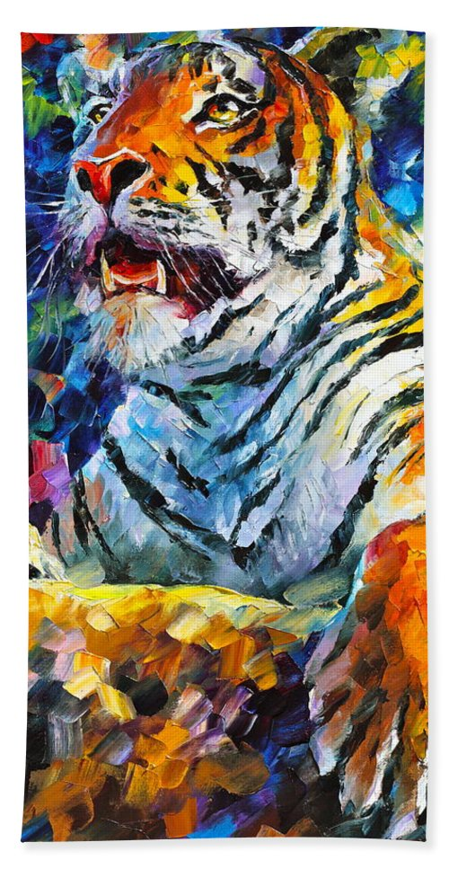 Tiger Beach Towel featuring the painting Angry Tiger by Leonid Afremov