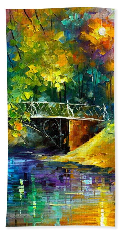 Afremov Beach Towel featuring the painting Aura Of Autumn 3 by Leonid Afremov