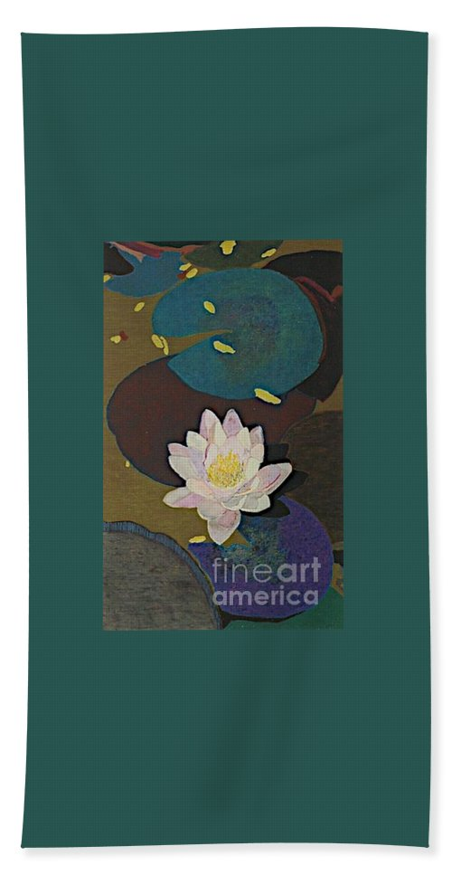 Landscape Beach Sheet featuring the painting Autumn Lily by Allan P Friedlander