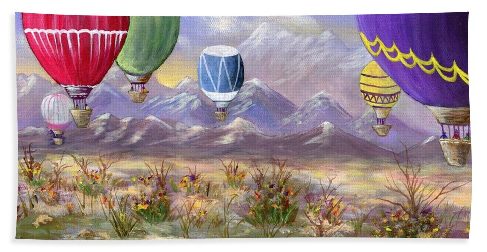Hot Air Balloon Beach Towel featuring the painting Balloons by Jamie Frier