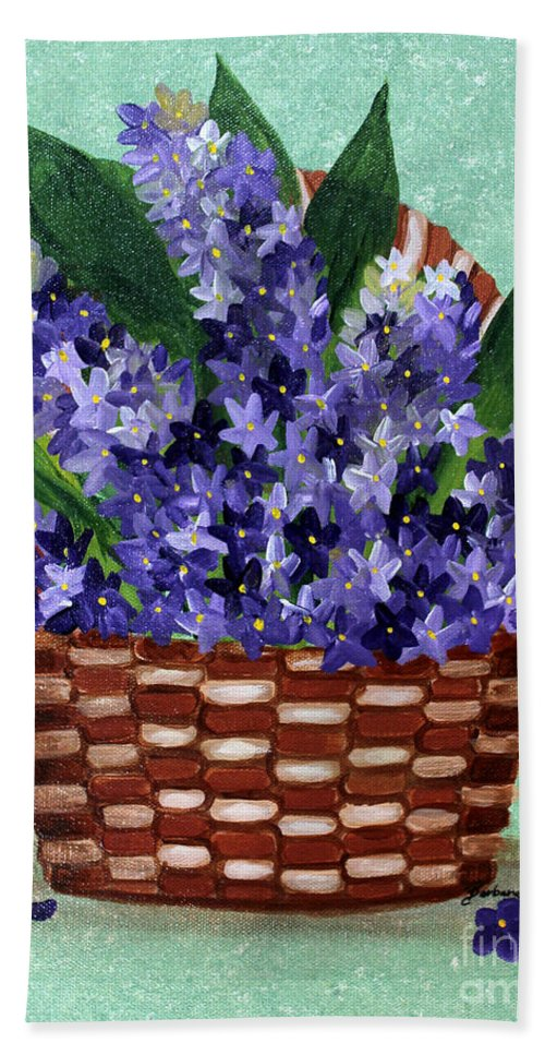 Barbara Griffin Beach Towel featuring the painting Basket Of Hyacinths by Barbara Griffin