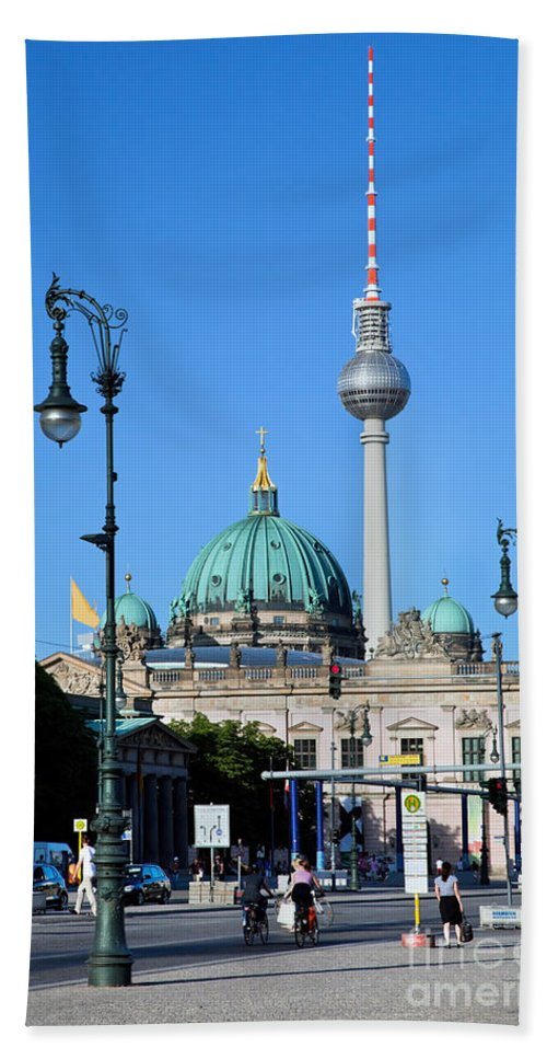 Berlin Beach Towel featuring the photograph Berlin Cathedral And Tv Tower by Michal Bednarek