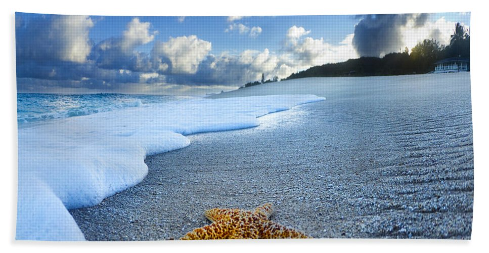 Surreal Beach Towel featuring the photograph Blue Foam Starfish by Sean Davey