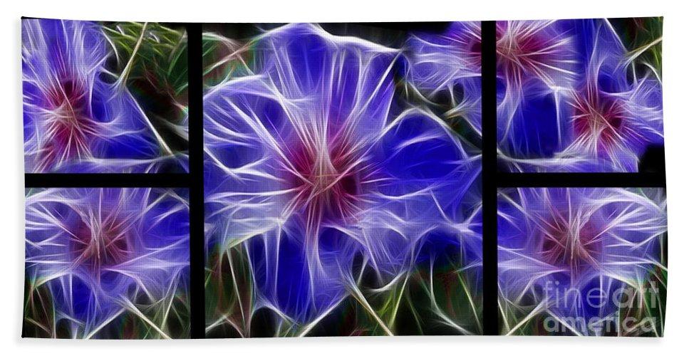 Blue Beach Towel featuring the digital art Blue Hibiscus Fractal by Peter Piatt