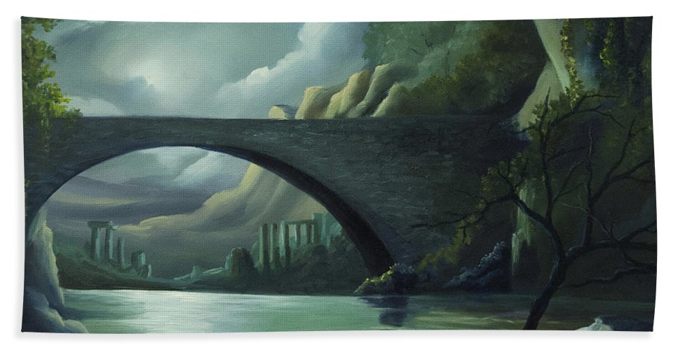 Ghosts Beach Towel featuring the painting Bridge To Nowhere by James Christopher Hill