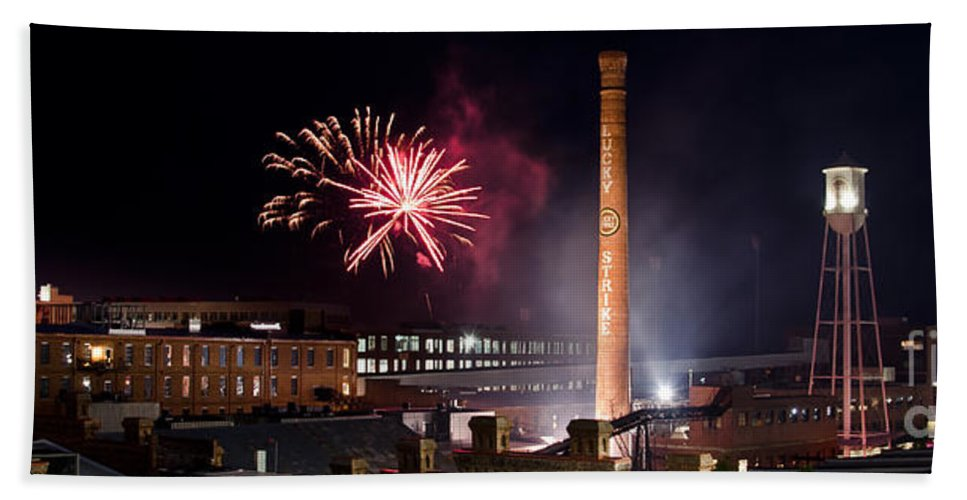 Bulls Beach Towel featuring the photograph Bull Durham Fireworks by Jh Photos