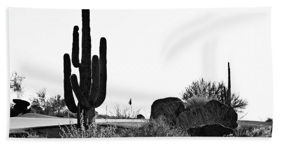Black &white Beach Towel featuring the photograph Cactus Golf by Scott Pellegrin