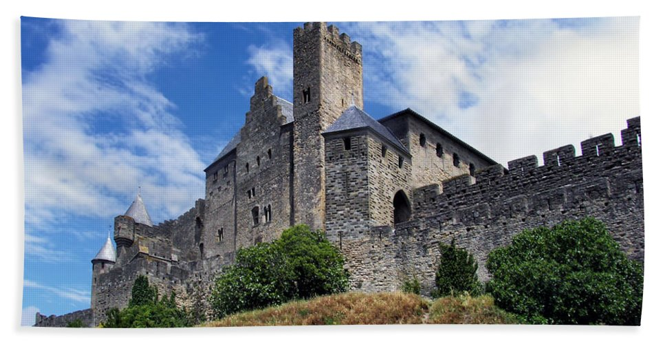 Ancient Beach Towel featuring the photograph Carcassonne By Day by Nikolyn McDonald
