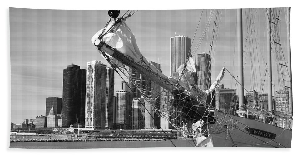 America Beach Towel featuring the photograph Chicago Skyline And Tall Ship by Frank Romeo