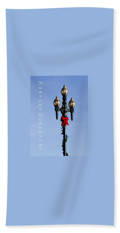 Christmas Beach Towel featuring the photograph Christmas Lamp Post 2013 by Deb Buchanan
