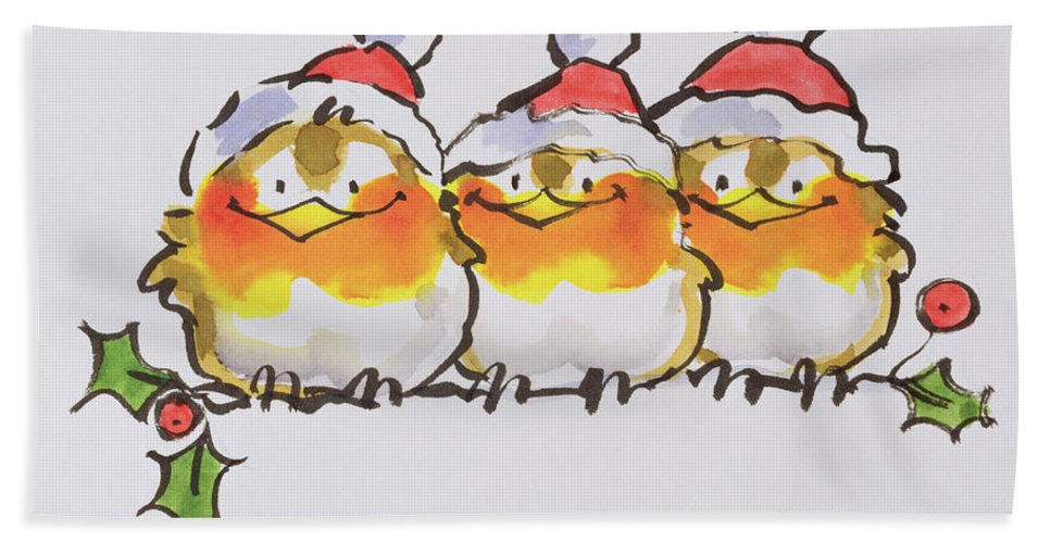 Branch Of Holly; Perched; Perching; Robin; Bird Beach Towel featuring the painting Christmas Robins by Diane Matthes