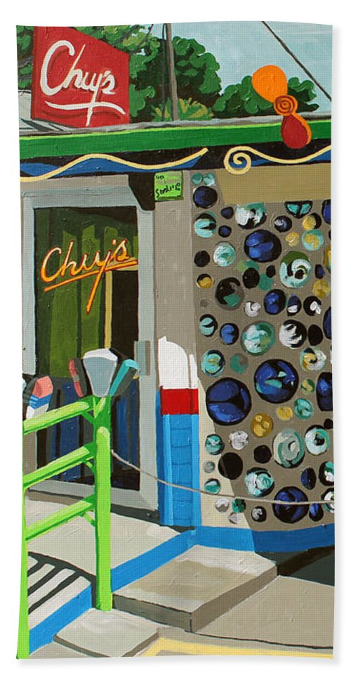 Austin Beach Towel featuring the painting Chuy's by Melinda Patrick