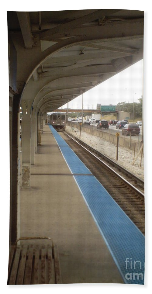 Cicero Avenue Beach Towel featuring the photograph Cicero Cta Blue Line by Alfie Martin