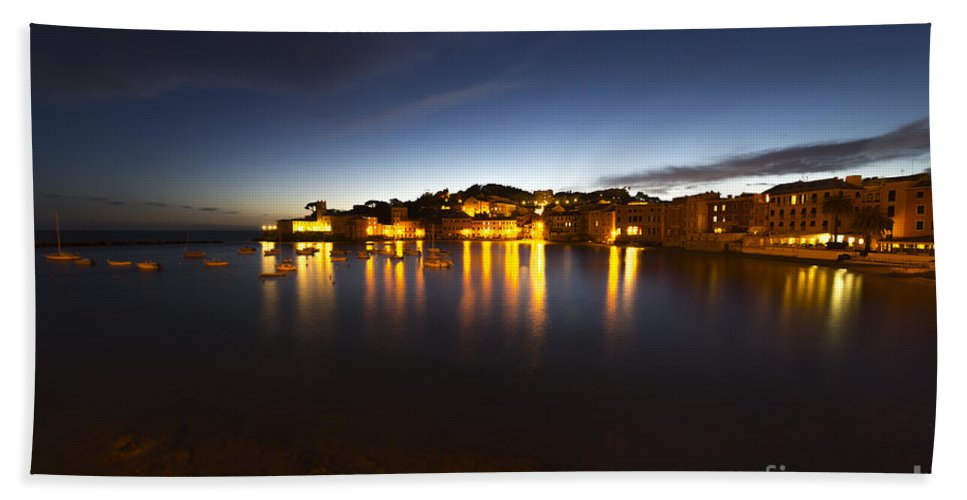 Village Beach Towel featuring the photograph Cinque Terre At Night by Mats Silvan