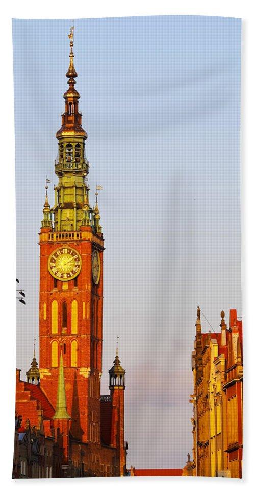 Gdansk Beach Towel featuring the photograph City Hall In Gdansk by Karol Kozlowski