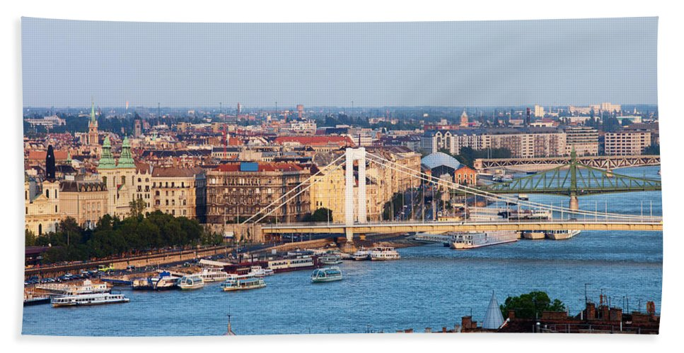 Budapest Beach Towel featuring the photograph City Of Budapest At Sunset by Artur Bogacki