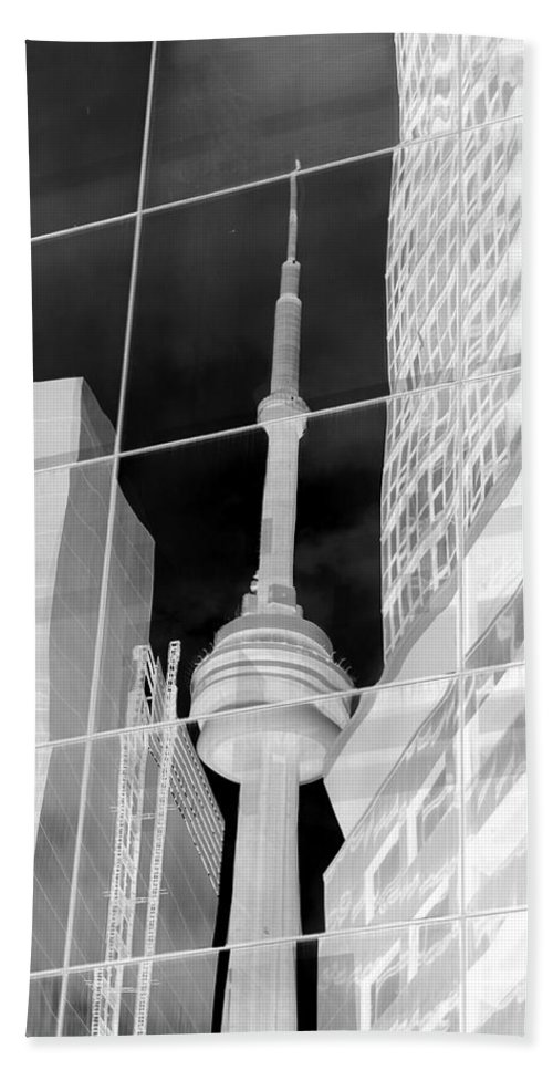 Cn Tower Beach Towel featuring the photograph Cn Tower Reflected by Valentino Visentini