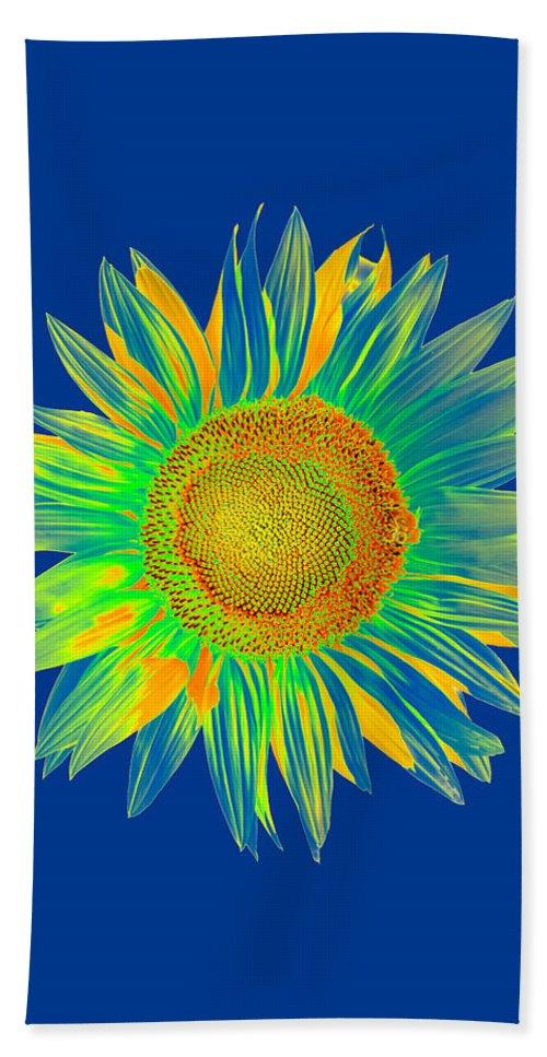 Bee Beach Towel featuring the digital art Colourful Sunflower by Roy Pedersen