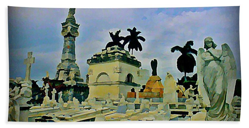 Columbus Cemetary Havana Beach Towel featuring the painting Columbus Cemetary Havana by John Malone