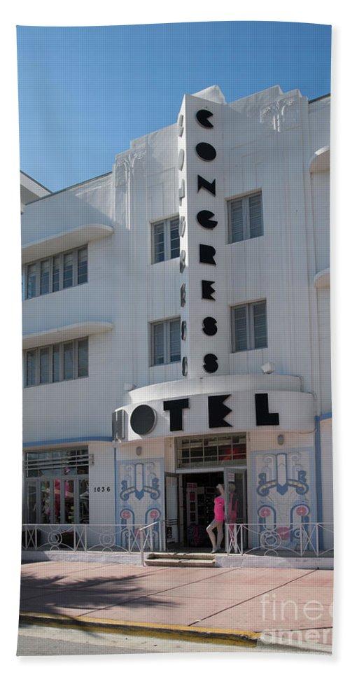 Art Deco Beach Towel featuring the digital art Congress Hotel by Carol Ailles
