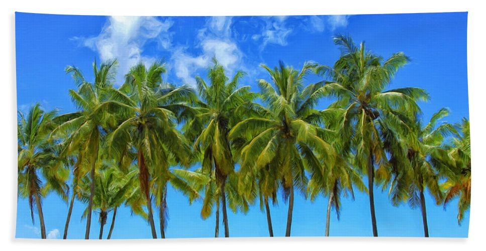 Palm Trees Beach Towel featuring the painting Cool Breeze by Dominic Piperata