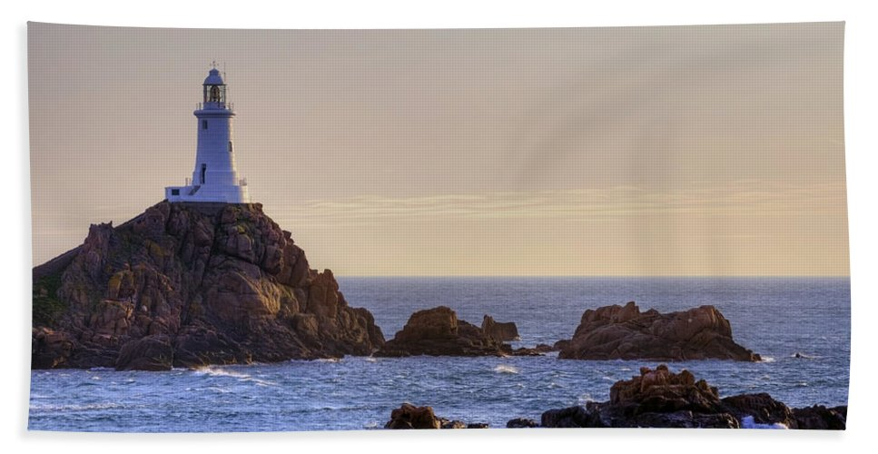 La Corbiere Lighthouse Beach Towel featuring the photograph Corbiere Lighthouse - Jersey by Joana Kruse