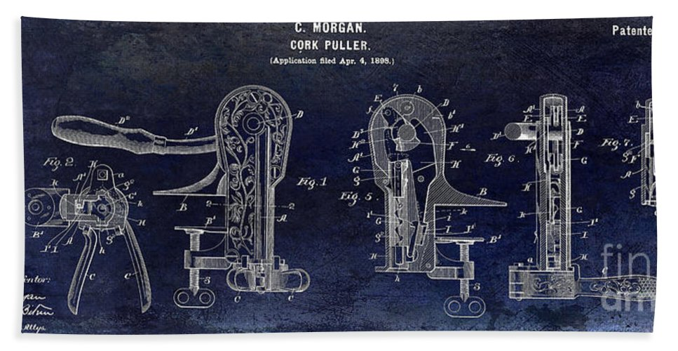 Corkscrew Patent Drawing Beach Towel featuring the photograph Cork Puller Patent 1899 by Jon Neidert