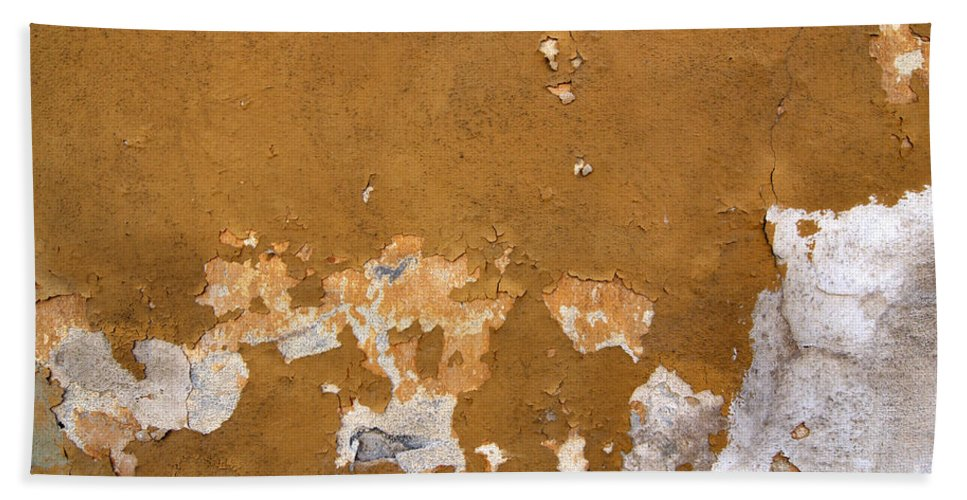 Plaster Beach Towel featuring the photograph Cracked Stucco - Grunge Background by Michal Boubin